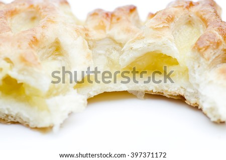 Home made apple strudel puff pastry isolated on a white background. - stock photo