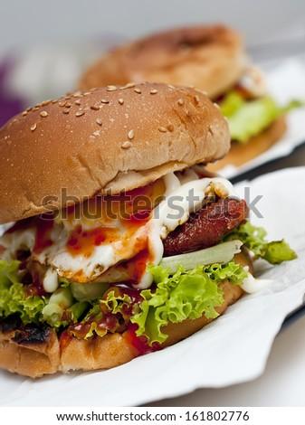 Home made Burger  - stock photo