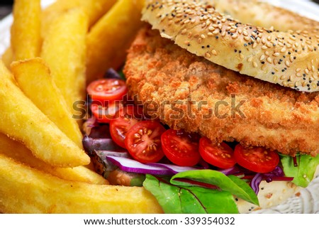 Home made Close up Chicken burger with fried potatoes. - stock photo