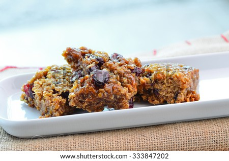 Home made cranberry flapjack - stock photo