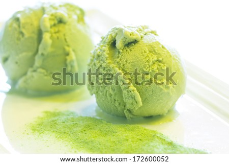 Home Made Green tea ice cream  - stock photo