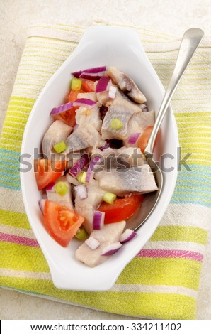 home made herring salad with tomato, purple onion and spring onions in a white bowl - stock photo