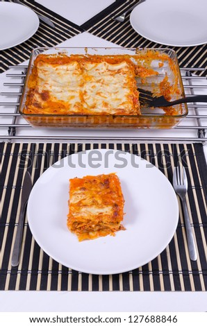 Home made lasagna for lunch - stock photo