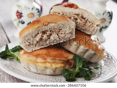 Home made mini chicken pie filled with chicken meat - stock photo