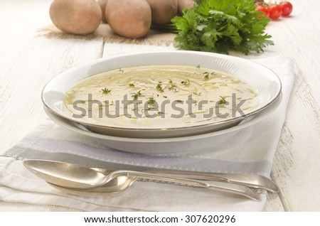 home made potato soup with fresh thyme