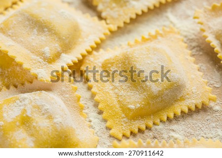 Home-made ravioli - stock photo