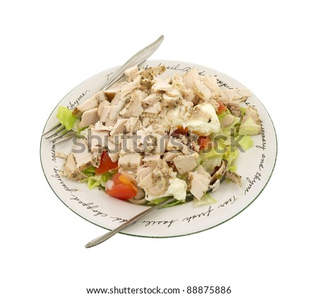 Home made salad topped with chicken. - stock photo