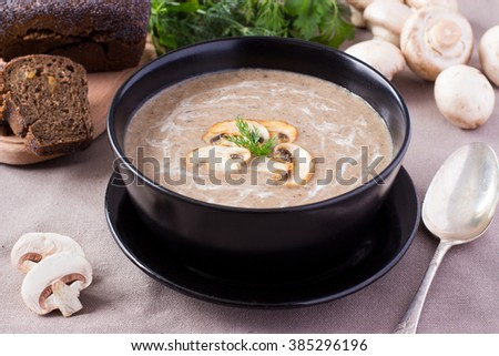 Home made soup from mushrooms
