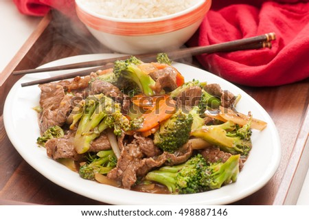 home made stir fry beef with broccoli