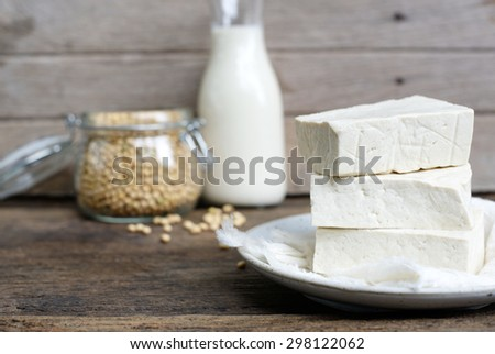 home made tofu with soy milk and soy bean - stock photo