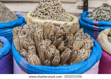 Home made toothpicks sack in Marrakech souk at Morocco - stock photo