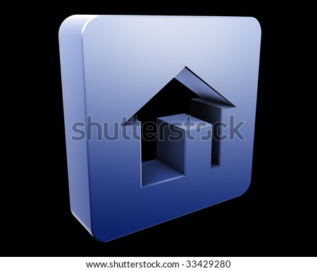 Home navigation icon glossy button, square shape
