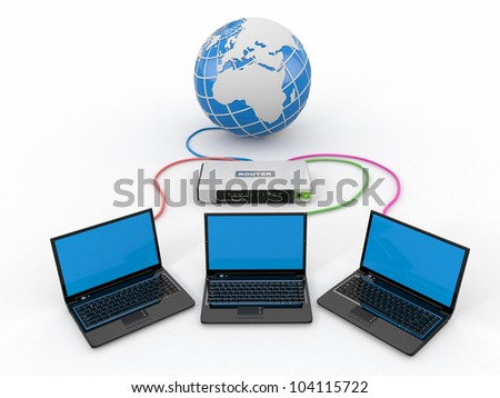 Home Network. Router and three laptops. 3d - stock photo