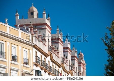 Home of the five towers, Spain square, Cadiz - stock photo