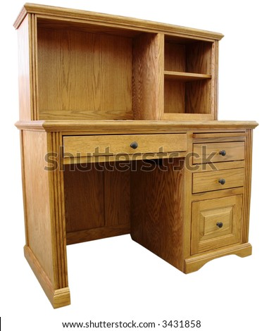 Home Office Computer Desk and Hutch in Honey Oak Finish - stock photo