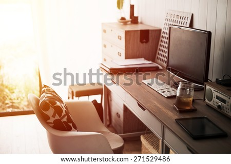 Home office interior. Vintage filter. - stock photo