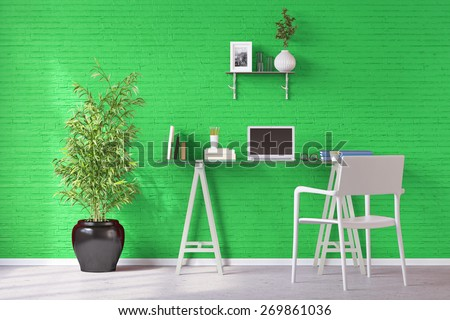 Home office with desk and laptop computer in front of a green wall (3D Rendering)
