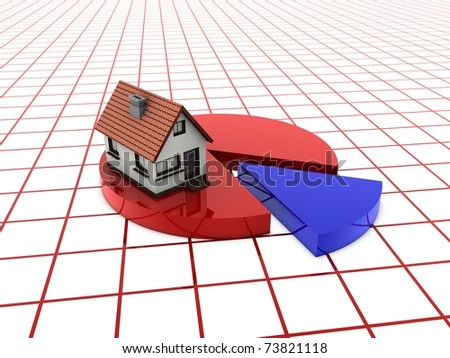 home on pie chart - stock photo