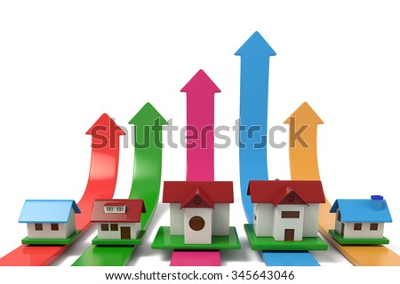 Home on the arrow, the concept of real estate appreciation. - stock photo