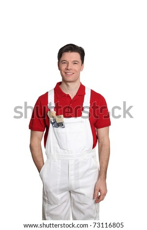Home painter standing on white background - stock photo