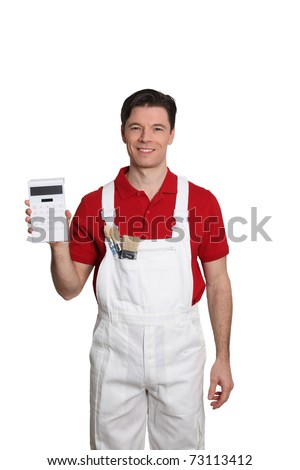 Home painter standing on white background with calculator - stock photo