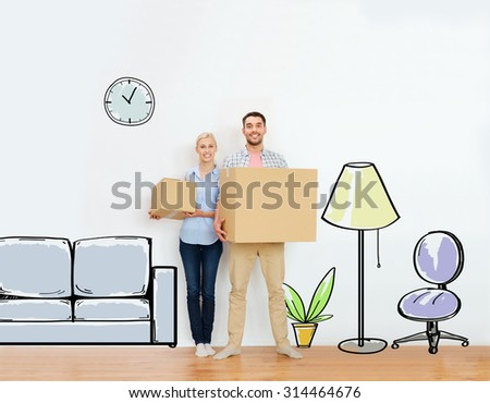 home, people, repair and real estate concept - happy couple holding cardboard boxes and moving to new place over furniture cartoon or sketch background - stock photo