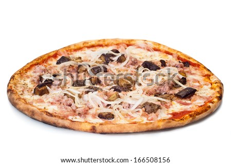 home pizza with sausage and eggplant Closeup