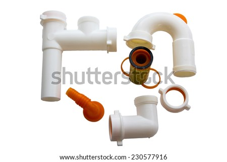 home pvc pipes set for sink - stock photo