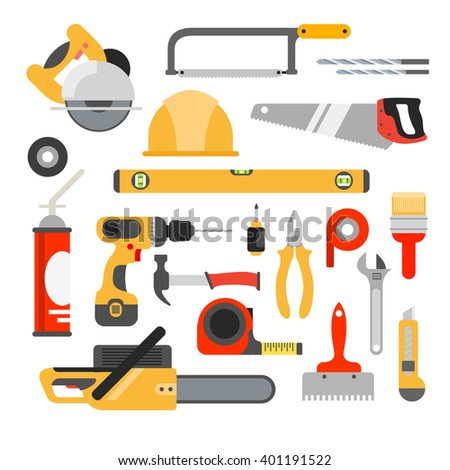 Home repair tools icons. Working repair tools for repair and construction. Hand drill, saw, level, hammer, screwdriver and other construction tools. Home repair set isolated  - stock photo