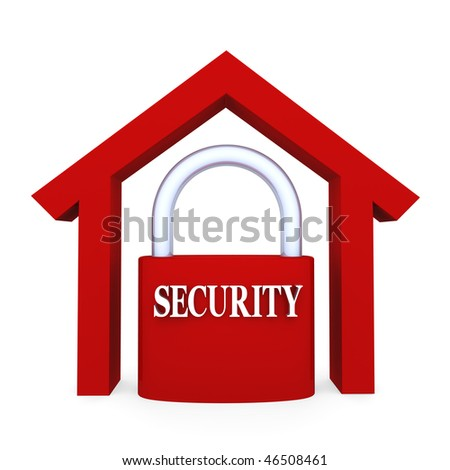 Home Security. Concept depicting security lock inside home; great for home security and stability - stock photo