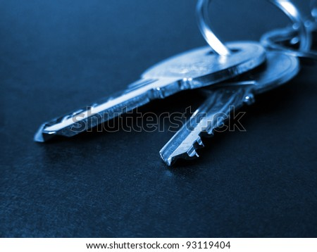 Home security - metal keys. Selective focus. - stock photo