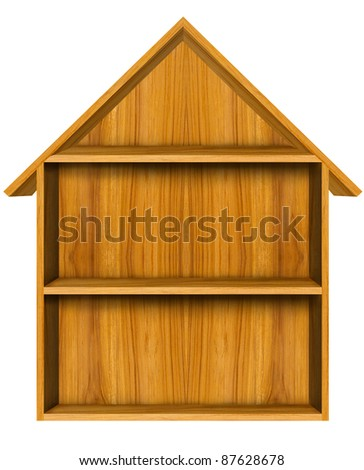 Home shape  shelf  make from wood - stock photo