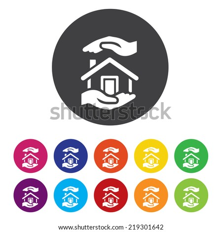 Home sign icon. House for sale. Broker symbol. - stock photo