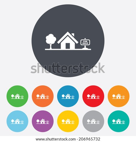 Home sign icon. House for sale. Broker symbol. Round colourful 11 buttons. - stock photo