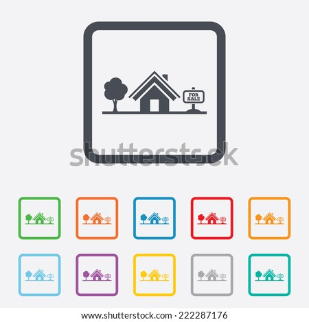 Home sign icon. House for sale. Broker symbol. Round squares buttons with frame. - stock photo