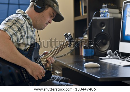 Home Studio Recording - stock photo