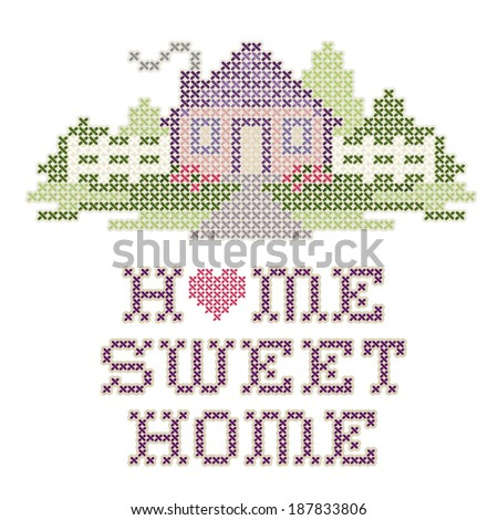 Home Sweet Home Embroidery, cross stitch pattern sewing design in pastel colors, big red heart, needlework house, picket fence in landscape graphic, isolated on white background. - stock photo
