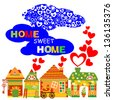 Home Sweet Home Set, Raster Version - stock photo