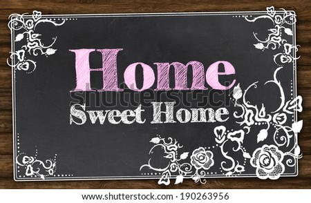 Home Sweet Home with Vintage Florals and Clipping Path - stock photo