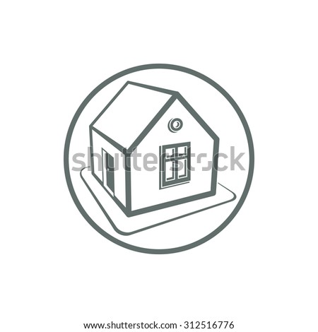 Home symbol, estate agency, can be used in advertising and web design. Property icon isolated on white.