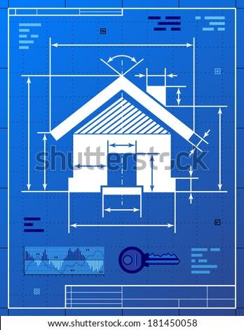 Home symbol like blueprint drawing stylized stock illustration home symbol like blueprint drawing stylized drawing of house sign on blueprint paper qualitative malvernweather Image collections