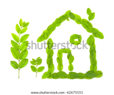 Home symbol made out of leafs - stock photo