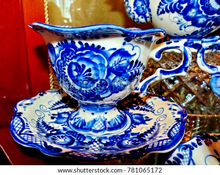 Home tableware in Russian traditional Gzhel style. Closeup. Gzhel - Russian folk craft of & Home Tableware Russian Traditional Gzhel Style Stock Photo (Royalty ...