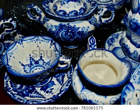 Home tableware in Russian traditional Gzhel style. Closeup. Gzhel - Russian folk craft of & Home Tableware Russian Traditional Gzhel Style Stock Photo ...