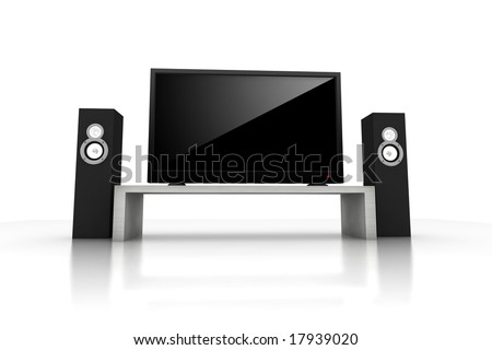 home theater / high definition television with speakers - isolated 3d render - stock photo