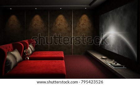 Home theater room red seat #1, 3D render