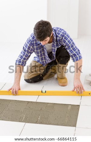 Home Tile Improvement Handyman Level Laying Stock Photo Royalty