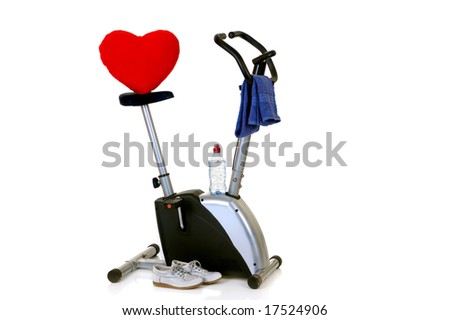 Home-trainer for workout, isolated on white background, reflective surface - stock photo