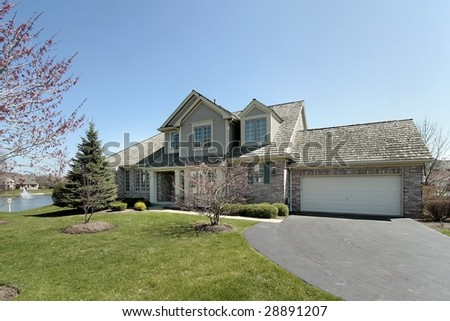 Home with lake view - stock photo