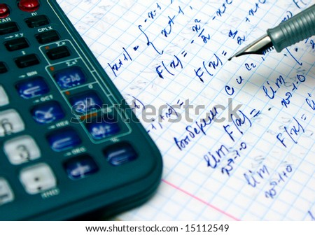Home work, calculation with pen and calculator